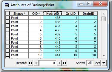 atributos Drainage Point Processing
